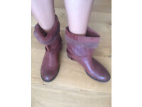 Zara Leather Boots Size 38 Tan Brown