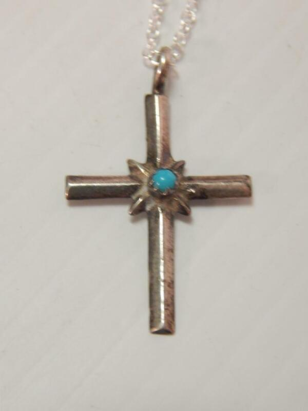 PETITE VINTAGE NAVAJO INDIAN STERLING SILVER TURQUOISE CROSS NECKLACE