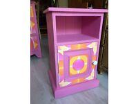 Pink bedside table, cabinet, unit, retro, vintage