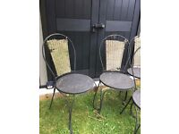 Metal Garden chairs x 4, rustic garden seating, patio set, garden furniture