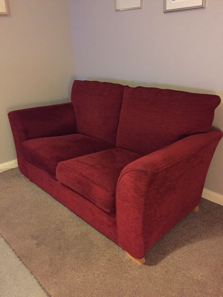 Red Two Seater Sofa And X2 Ikea Chairs
