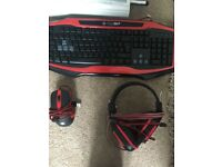 Game max red led keyboard mouse headset mousepad bundle