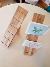 2 Oak cards/prints/art display stands