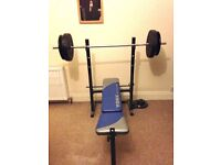 York 521 Bench and Lat Curl 5 station heavy duty weight lifting bench With 75kg steel plate weights