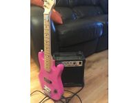 PINK ELECTRIC GUITAR with A M P