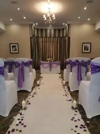 Chair cover hire and centrepieces