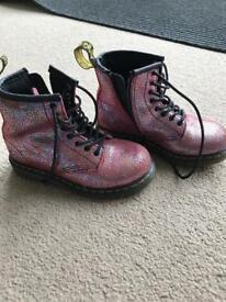 Dr martens kids pink glitter boots