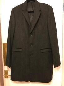 NEXT size Medium men's,long coat in dark grey winter %80 wool