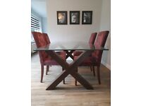 Glass Top Dining Table, 4 Fabric Covered Chairs with Matching Unit
