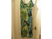Multi Coloured (Turquoise/green/black and white) Dress, Size 16