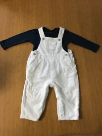 White dungarees with navy vest 6-9 months
