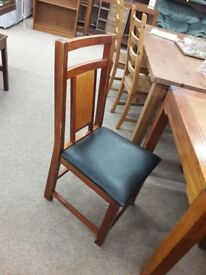 Dark Wood Dining Table and 6 Black Chairs