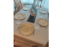 Extendable 6 chairs solid wood dining table