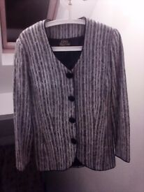 Gina Bacconi women's jacket coat silver and black 10/12