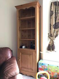 Pine bookshelf with cupboard