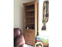 Pine bookshelf with cupboard