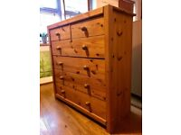 Pine - Solid wood chest of drawers.
