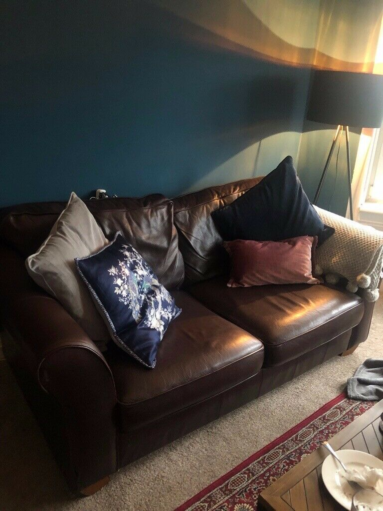 Marks and Spencer Brown Leather Sofa Bed & Armchair Suite ...