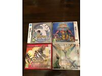 Nintendo 3DS 4 Pokemon games, X, Super Mystery Dungeon, Omega Ruby and Soul Silver, all as new.