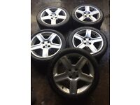 """GENUINE PEUGEOT 307 SET OF 5 ALLOY WHEELS AND TYRES 17"""""""