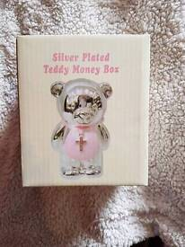 Silver plated teddy money box