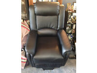 RISER/RECLINER ARMCHAIR in BLACK with heat and vibratory massage - REDUCED TO £275.00