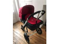 Bugaboo Cameleon 3 in 1 travel system with bugaboo board, sun shade and cup holder.