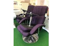 Purple chair and stool
