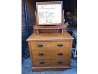 Solid wooden chest drawers with mirror dresser unit