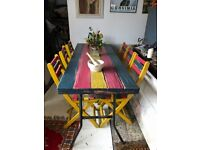 Vintage Trestle Table And Chairs