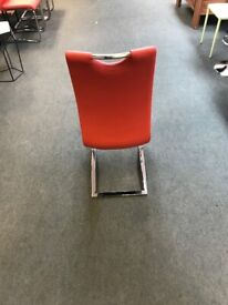 faa49b138c7 Koln Dining Chair In Red Faux Leather With Chrome Legs   300