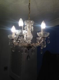 Pair of gold finish chandeliers - 5 Lights