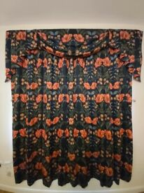 PAIR OF LINED & INSULATED BLACKOUT CURTAINS WITH SWAGS & TAILS