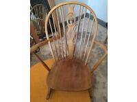 Ercol blonde elm large grandfather rocking chair
