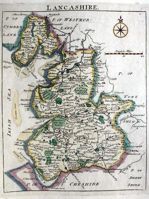 LANCASHIRE LANCASTER  MANCHESTER WIGAN  c1769 BY JOHN ROCQUE GENUINE ANTIQUE MAP