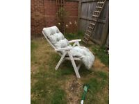 1 x plastic white sun lounger with cushion