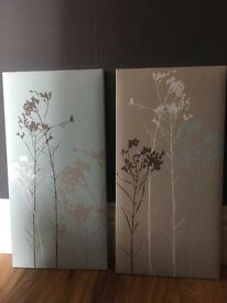 2x Canvas printed branches, taupe/fawn/duck egg blue/green