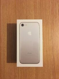 unopened silver 32gb Iphone 7 in box