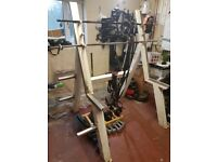 Used heavy duty squat rack. Easy to assemble. Weights/bars not included.