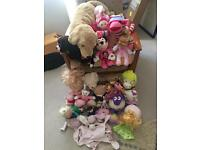 30 item bundle including Ewan the sheep, talking dolls, bears, soft toys, comforters etc