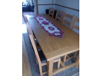 Table and chairs, sideboard