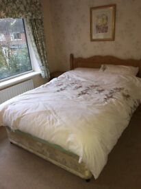 Pine double bed plus matching cupboards