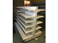 Used shop shelving Gondolas, wall bays 3m shelving counter AMX35