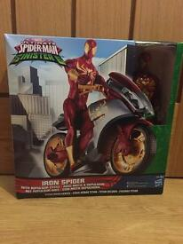 Spider-Man The Sinister Six Titan Hero Series Iron Spider Toy with Repulsor Cycle