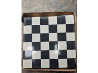 Victorian sheeted chequered tiles - Black and White squares - 9 sheets