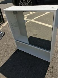 Bathroom cabinet, white with mirrored door, excellent condition.