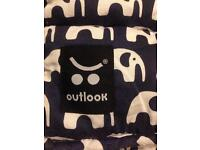Outlook Blue and White Elephant Pushchair Liner