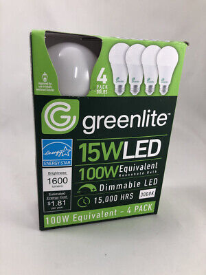 4 Pack 15w Greenlite LED 100 Watt Equivalent A type Light Bulb - Dimmable