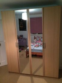 *** Double Mirrored Beech Wardrobe - Excellent condition, Huge Storage Space ***