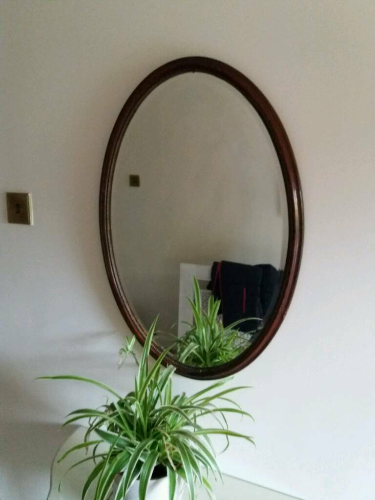 Victorian mahogany beaded mirror